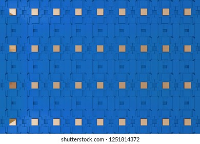 3d wall, 3d rending blue graphic wall for background or backdrop