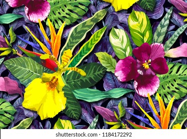 3d wallapaper design with floral and tropical theme for photomural