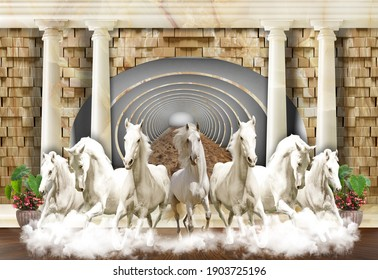 3D Wallpaper, 7 Horses coming out from Tunnel
