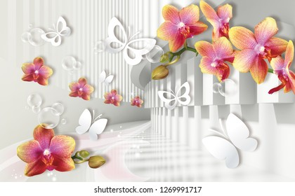 3D wallpaper, architecture tunnel with orchids and white paper butterflies. Celebration 3d background.