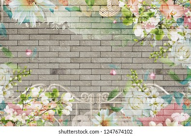 3d wallpaper backgound design with brick wall and flower theme for photomural
