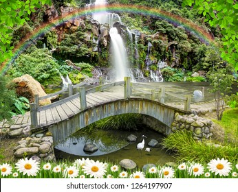 3d wallpaper background design with old wooden bridge and waterfall theme for photomural