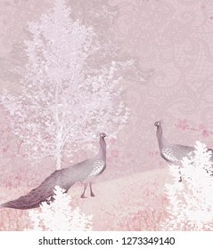 3d wallpaper background design with peacock and nature for mural