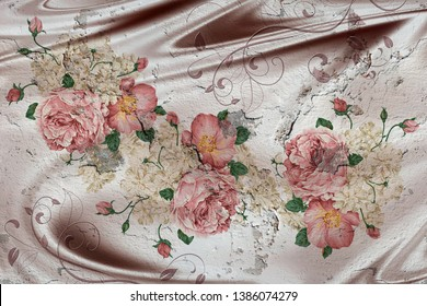3d wallpaper, bouquet of flowers on silk and concrete wall background. Murals effect.The original panel will turn your room in with the most recent world trends in interior fashion.