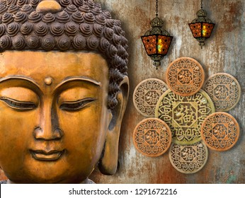 3D Wallpaper, Buddha with Laterns and Lucky charm