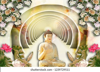 3D Wallpaper, Buddha with Marble Flowers