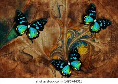 3d wallpaper, butterflies, nature painting, old canvas textures. Murals effect. Grunge wallpaper pattern.