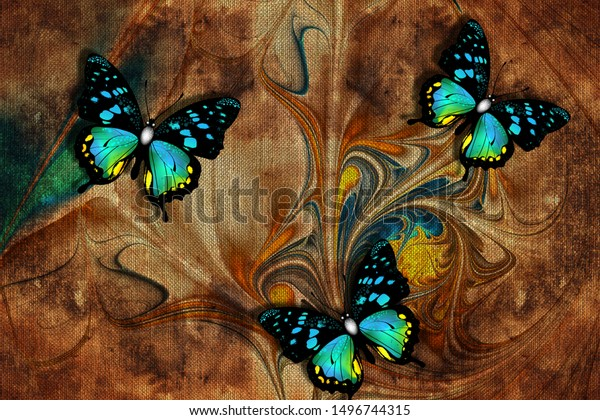 3d Wallpaper Butterflies Nature Painting Old Stock Illustration