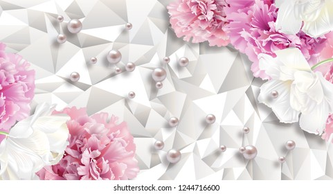 3d wallpaper, carnations flowers and pearl on white abstract background. Celebration 3d background.