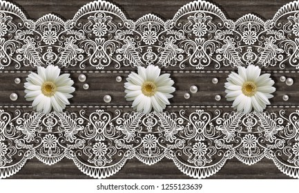 3d wallpaper, chamomiles, pears and  white ornamental lace on wooden background. Classic Provence Style