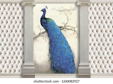 3d wallpaper, columns, peacock and effect of quilted leather. The main features of classicism: restraint, aristocracy, sophistication.