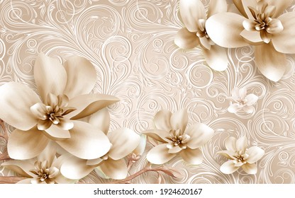 3D wallpaper containing beautiful flowers