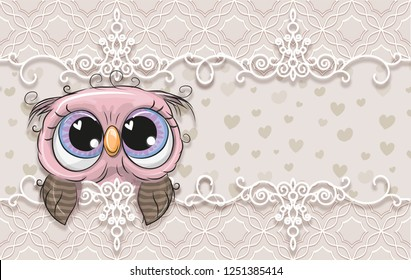 3d wallpaper, cute baby background with owlet. Birthday cards