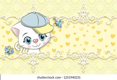 3d wallpaper,  cute baby background with kitten. Greeting card. Pastel background