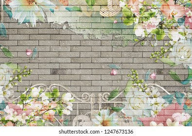3d wallpaper design background with brick wall and vintage floral theme for photomural
