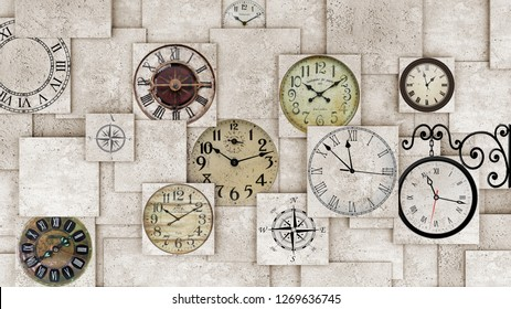3d wallpaper design background with clocks on a 3d wall for mural