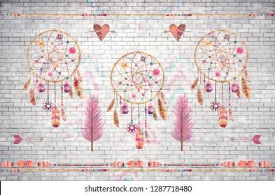 3d Wallpaper design background dream catcher on brick grunge wall for mural