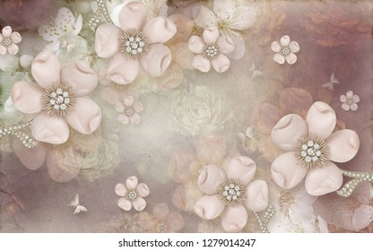 3D Wallpaper design background with floral theme for murals