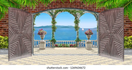 3d wallpaper design background with open doors to a terrace on a beachside with florals and sea for mural