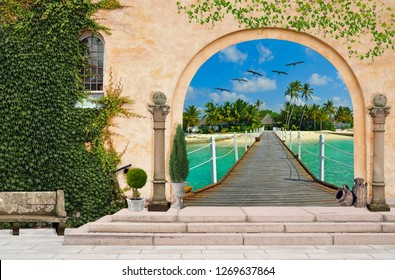 3d wallpaper design background with open door to a seaside pier for mural