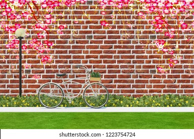 3d wallpaper design with birck wall and bycicle for photomural