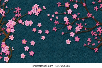3d wallpaper design with blossom flowers and glitter background for mural