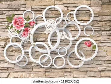 3D wallpaper design with brick and flowers for photomural