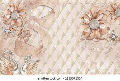 3D wallpaper design with bricks and stones with florals for photomural