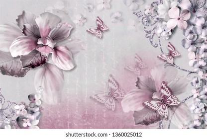 3d wallpaper design with butterflies and flowers for mural print