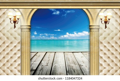 3d Wallpaper design with capitone, columns and sea for photomural