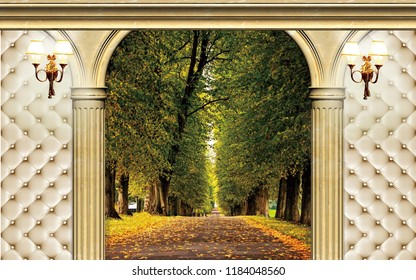 3d Wallpaper design with capitone, columns andnature for photomural