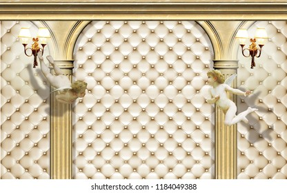 3d Wallpaper design with capitone, columns and angels for photomural