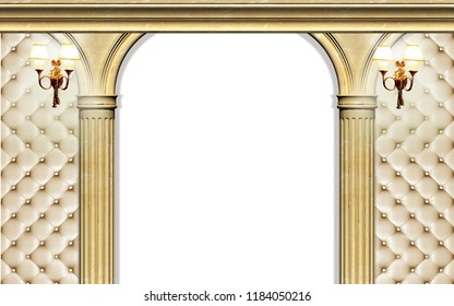 3d Wallpaper design with capitone, columns for photomural