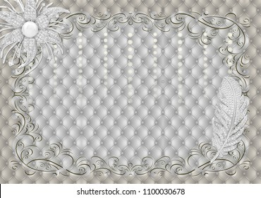3d Wallpaper design with capitone and pearls