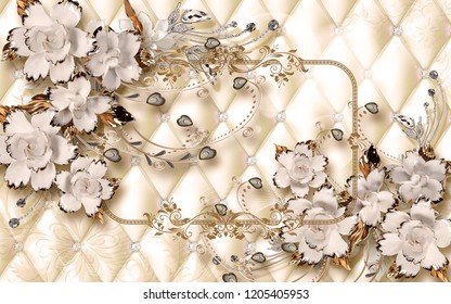 3d wallpaper design with ceramic jewels and flowers for photomural
