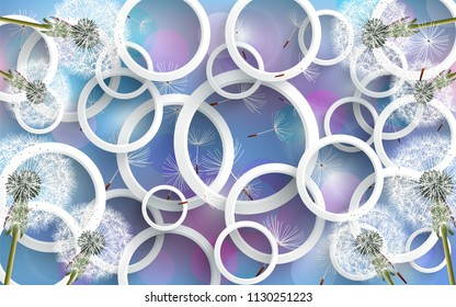 3D Wallpaper Design with circles and florals for photomurals