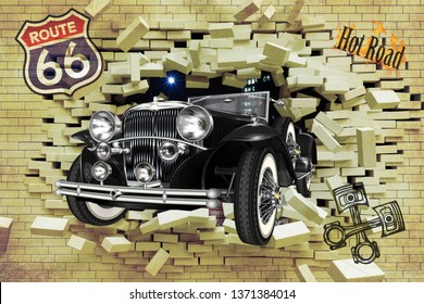 3D wallpaper design with a classic car jumping through a broken wall for digital print