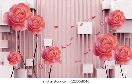 3d wallpaper design with 3d cubes and roses for photomural