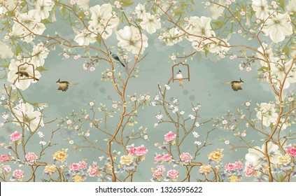 3d wallpaper design with english country style branches and flowers and birds for mural print