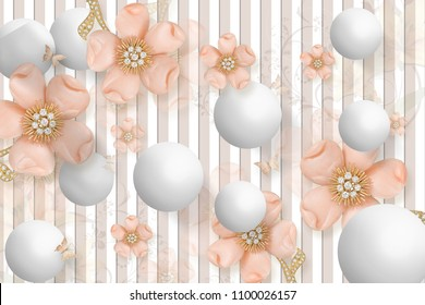 3D Wallpaper Design with Floral and Geometric Objects