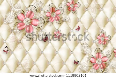3 D Wallpaper Design Floral Jewellery On Illustration De Stock De