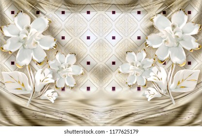 3d wallpaper design with floral theme and silk background for photomural