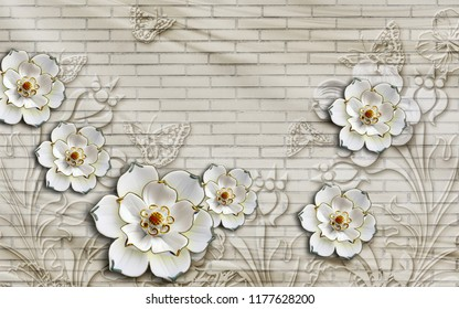 3d wallpaper design with floral theme and brick background for photomural