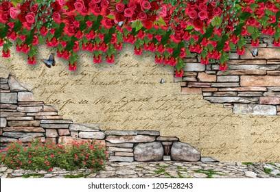 3d wallpaper design with floral wall  for photomural