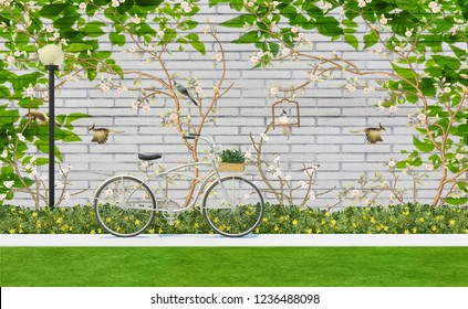 3d wallpaper design with florals and bicycle for photomural