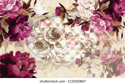 3d wallpaper design with florals and capitone for photomural