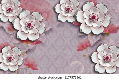 3d wallpaper design with florals and damask background for photomural