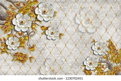 3d wallpaper design with florals and flowers for photomural