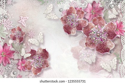 3d wallpaper design with florals and jewels for photomural