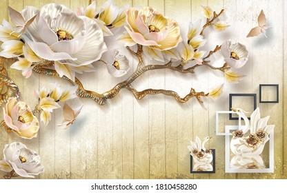 3D wallpaper design with florals Swan  background